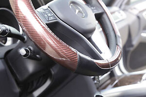 New 14 5 Dia Carbon Fiber Brown Genuine Leather Steering Wheel Cover 7472