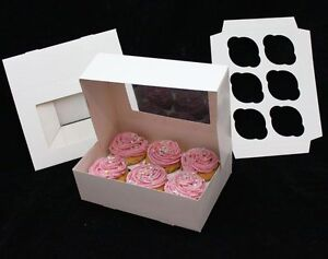 25 Cupcake Box Holds 6 Each Window 10 X 10 X 5 Bakery Box And Inserts For 150