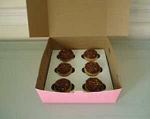 25 Cupcake Box Holds 6 Each Pink 10 X 10 X 4 Bakery Box And Inserts For 150