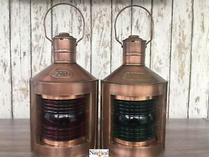 Dark Antique Finish Port Starboard Lanterns Nautical Oil Lamps Ship Light