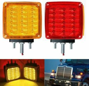 2pc Amber red 39 Led Double Face Stud Mount Pedestal Fender Stop Turn Tail Light
