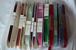 120y Lot Bolts Vtg Pink Orange Blue Red Purple Velvet German Ribbon Rayon Dress