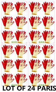 Lot Of 24 Pair Red Premium Latex Rubber Coated Palm White String Knit Work Glove