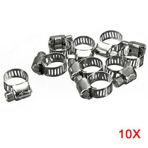 10pcs Screw Band Worm Drive Hose Clamps 304 Stainless Steel Pipe Clips 6 12mm