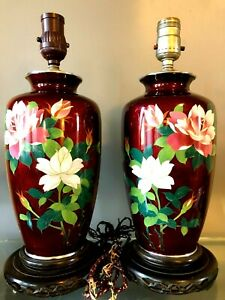 Pair Of Antique Japanese Pigeon Blood Cloisonne Table Lamps Vases