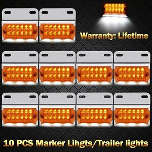 10x 15 led Amber Trailer Truck Boat Side Marker Indicator Cab Light Clearence