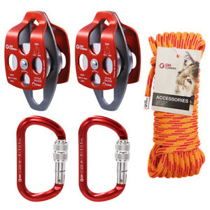 Twin Sheave Block And Tackle 7100lb Pulley System 30 Feet 7 16 Double Braid Rope