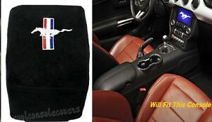 Ford Mustang 2015 2017 Center Console Cover Black Cotton Terry Velour