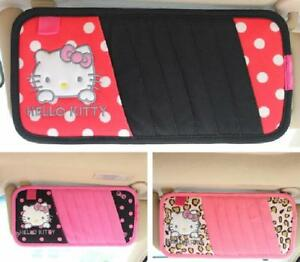 New 1pcs Hello Kitty Bow Car Cd Visor Cover Cartoon Car Interior Accessories