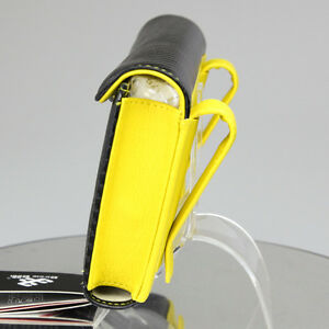 Circle Cool Black Yellow Carbon Fiber Pvc Leather Refillable Holder Tb 34703