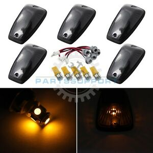 Smoked Cab Lights Marker Roof Top Amber Led Bulb For 92 99 C1500 C2500 Suburban