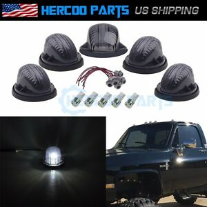Roof Top Cab Lights Marker Smoked Ultra White Led Bulb For Chevy Gmc 73 86