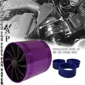 2 5 Air Intake Short Ram Tornado Supercharger Gas Fuel Saver Dual Fan Purple