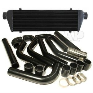 Jdm 28 Turbo Intercooler Blk 2 5 Aluminum Black Piping Pipe Kit Black Couplers