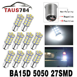 10x Pure White 6000k Ba15d 27smd 5050 Drl Led Light Bulbs 1076 1142 1178