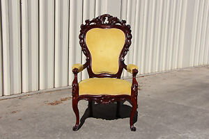 Gorgeous Large Solid Mahogany Victorian Heavily Carved Arm Chair