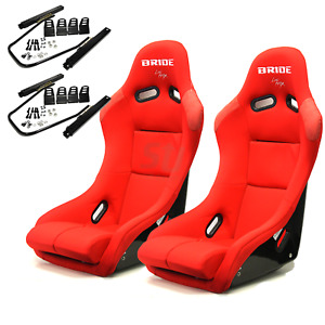 Bride Vios 3 Iii Red Low Max Pair Bucket Racing Seats Sliders Side Mount Jdm