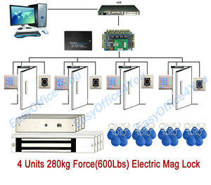 4 Doors Electronic Door Access Control System For Church office factory Security