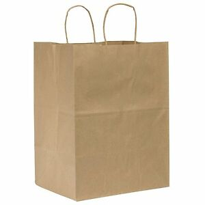 100 10x5x13 Brown Premium Kraft Paper Handle Shopping Gift Wedding Grocery Bags