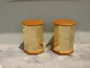 Pair Of 1970 S Faceted Brass And Wood Octagon Tables P