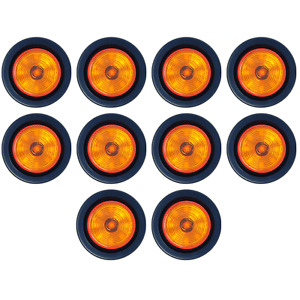2 Round Amber 9 Led Light Trailer Side Marker Clearance Grommet Plug Qty 10