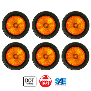 2 Round Amber 9 Led Light Trailer Side Marker Clearance Grommet
