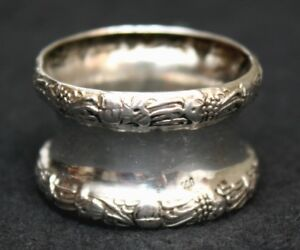 Napkin Ring 800 Silver Posen Germany Repousse Victorian 19th Century