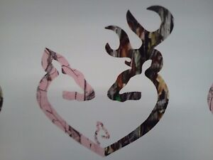 Browning Style Reg Buck And Pink Doe Heart With Baby Doe Hunting Sticker 9w X10h