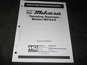 Multiquip Mikasa Mt54 f Tamping Rammer Parts Operation Manual