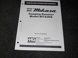 Multiquip Mikasa Mt 62hs Tamping Rammer Parts Operation Manual