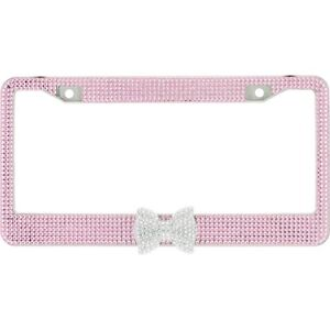 Pink 7 Rows Bling Diamond Crystal License Plate Frame With Clear Bow Tie