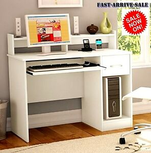 New White Modern Computer Desk Table Sturdy Workstation Student Office Furniture