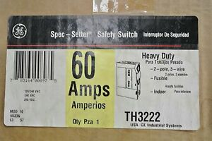 Ge Th3222 2p 240v 60 Amp Fusible Nema 1 Disconnect Switch New In Box