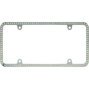 Swarovski Ab Crystal Bling Slim License Plate Frame Inlay With Screw Caps