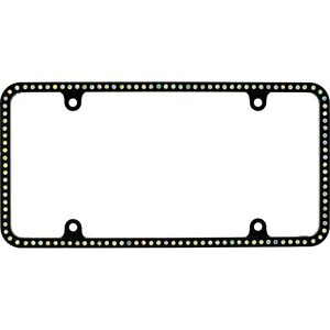 Swarovski Ab Crystal Bling Slim License Plate Frame Inlay Black Frame