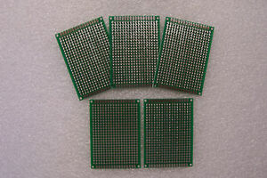 5 Pcs 2 X 2 3 4 Diy Prototype Pc Boards 5 X 7 Cm Double Sided With Feedthrough