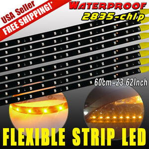 8x Amber 60cm 2835 Car Motor 30led Strip Light Bar Underbody Drl 12v Waterproof