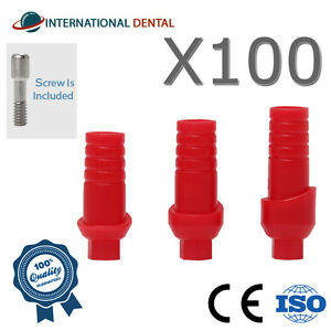 Lot Of 100 Straight Anatomic Plastic Abutment Hex Dental Implant For Dentist