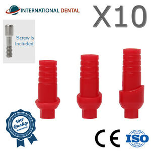 Lot Of 10 Straight Anatomic Plastic Abutment Hex Dental Implant For Dentist