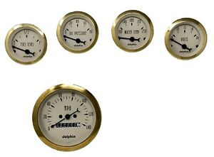 5 Gauge Dash Street Rod Hot Rod Universal set Mechanical Gold
