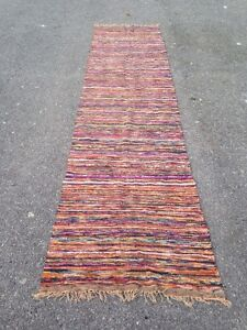 28 X 116 Multi Colored Vintage Rag Rug Runner