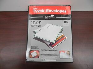 Dupont Tyvek First Class White Envelopes Side Seam 10 X 13 100 box R1590 5d