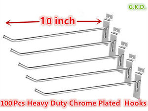 100 Pc 10 Slatwall Hooks Slat Wall Board Shelf Shelving Heavy Duty Chrome Plate