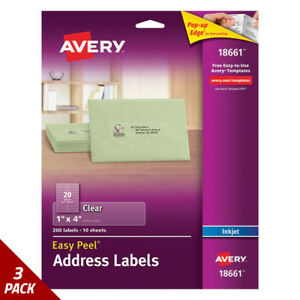 Avery Clear Easy Peel Mailing Labels Inkjet 1 X 4 200ct 3 Pack