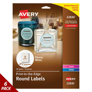 Avery Round Print to the edge Labels 2 1 2 Dia Glossy White 90ct 6 Pack