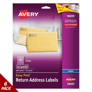 Avery Clear Easy Peel Mailing Labels Inkjet 2 3 X 1 3 4 600ct 6 Pack