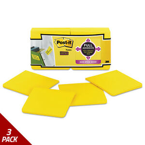 Post it Notes Super Sticky Notes 3 X 3 Electric Yellow 12ct 3 Pack