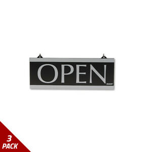 Century Series Reversible Open closed Sign W suction Mount 13x5 Black 3 Pack