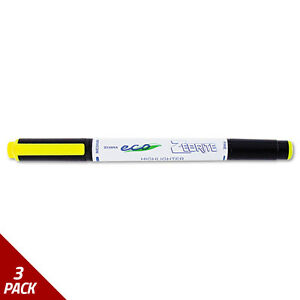 Eco Zebrite Double ended Highlighter Chisel fine Point Yellow 12ct 3 Pack