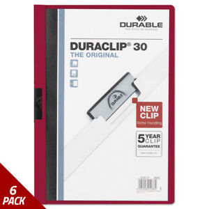 Vinyl Duraclip Report Cover W clip Letter Holds 30 Pg Clear maroon 6 Pack